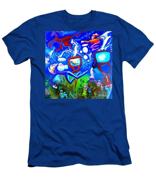 Men's T-Shirt (Slim Fit) featuring the painting Jumping Through Tv Land by Genevieve Esson