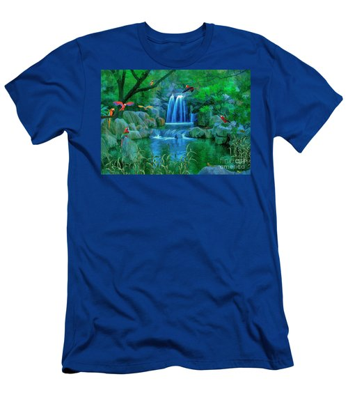 Jungle Water Falls And Parrots Men's T-Shirt (Athletic Fit)