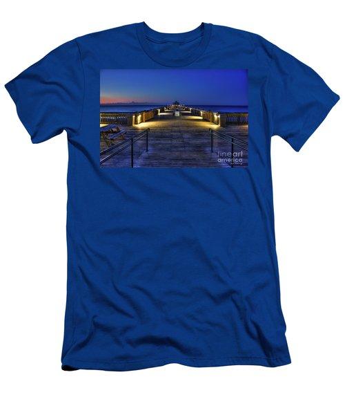 Men's T-Shirt (Slim Fit) featuring the photograph Just Before Dawn Folly Beach Pier Charleston Sc Sunrise Art by Reid Callaway