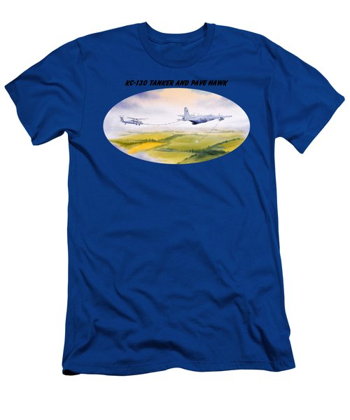 Kc-130 Tanker Aircraft And Pave Hawk With Banner Men's T-Shirt (Slim Fit) by Bill Holkham