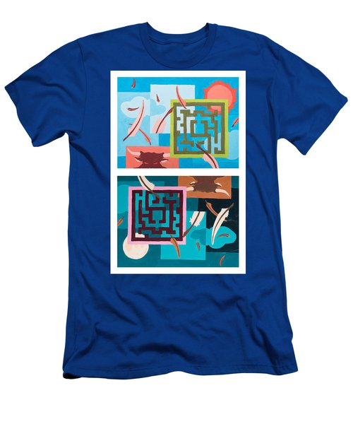 Men's T-Shirt (Athletic Fit) featuring the painting Labyrinth Night And Day by Break The Silhouette