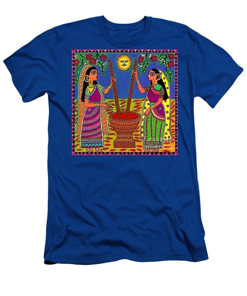 Men's T-Shirt (Slim Fit) featuring the digital art Ladies Crushing Chili Peppers by Latha Gokuldas Panicker