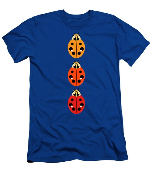 Ladybug Trio Vertical Men's T-Shirt (Slim Fit) by MM Anderson