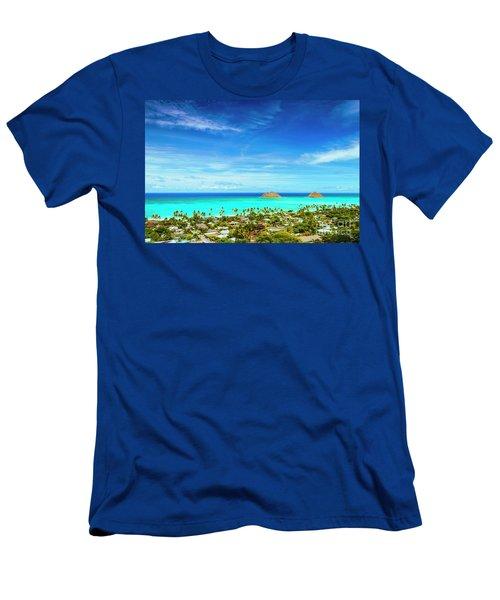 Lanikai Beach From The Pillbox Trail Men's T-Shirt (Slim Fit) by Aloha Art
