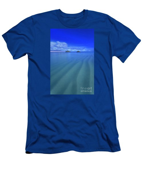 Men's T-Shirt (Slim Fit) featuring the photograph Lanikai Beach Ripples In The Sand by Aloha Art