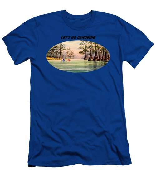 Men's T-Shirt (Slim Fit) featuring the painting Let's Go Canoeing by Bill Holkham