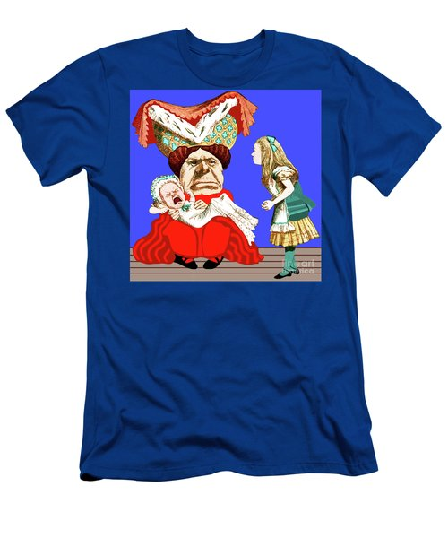Men's T-Shirt (Athletic Fit) featuring the painting Lewis Carrolls Alice, Red Queen And Crying Infant by Marian Cates