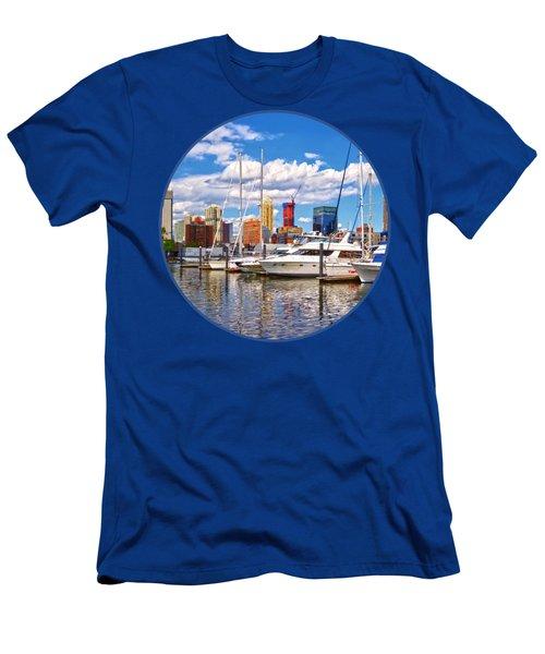 Liberty Landing Marina Against Jersey City Skyline Men's T-Shirt (Athletic Fit)
