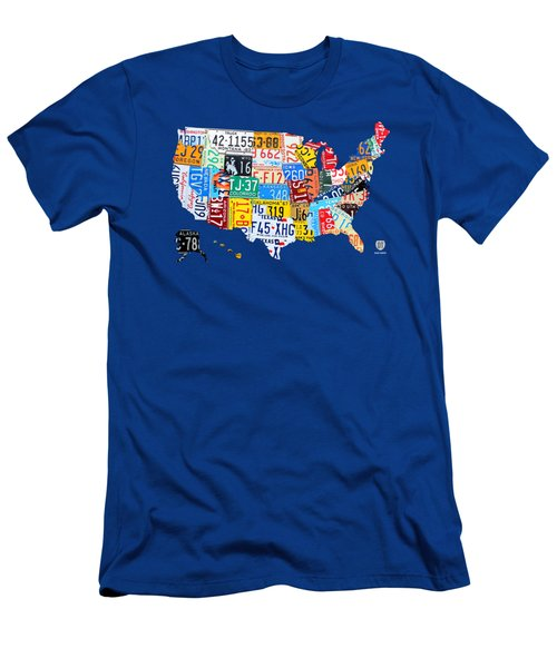 License Plate Map Of The Usa On Royal Blue Men's T-Shirt (Athletic Fit)