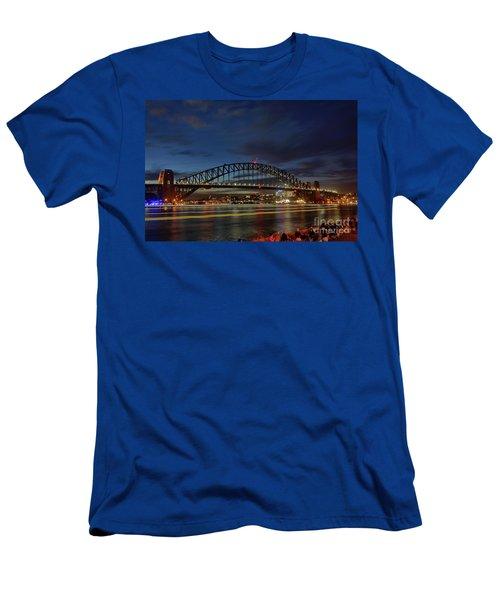 Light Trails On The Harbor By Kaye Menner Men's T-Shirt (Slim Fit) by Kaye Menner