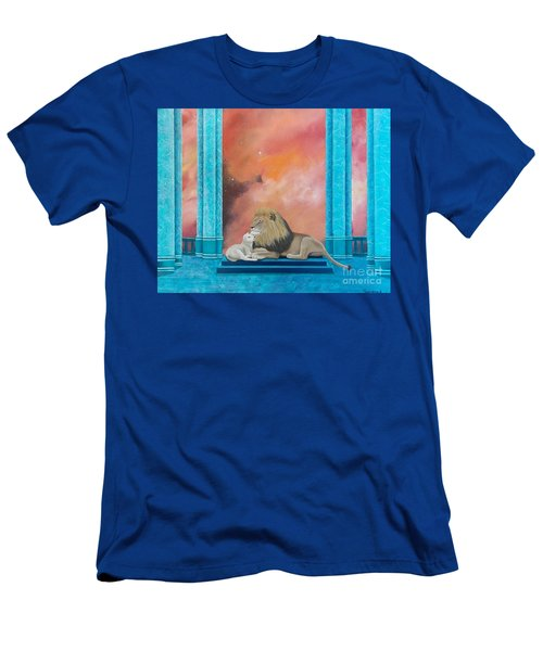 Men's T-Shirt (Athletic Fit) featuring the painting Lion And Lamb by Tracey Goodwin