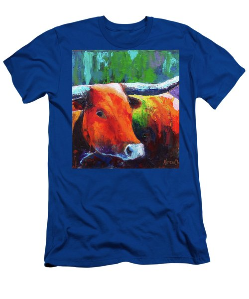 Men's T-Shirt (Slim Fit) featuring the painting Longhorn Jewel by Karen Kennedy Chatham