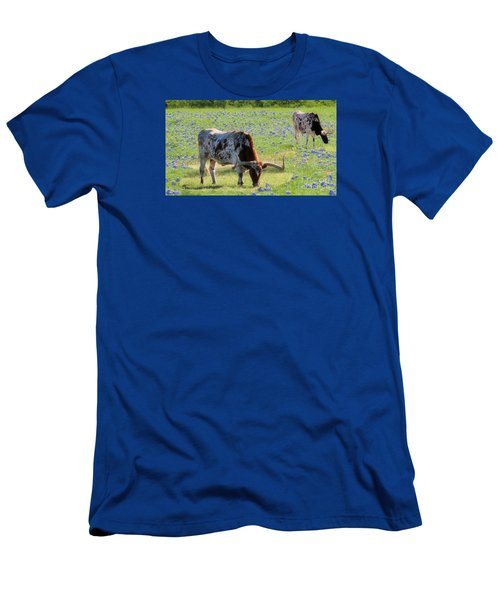 Longhorns In The Bluebonnets Men's T-Shirt (Athletic Fit)