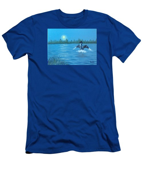 Loon Dance Men's T-Shirt (Slim Fit) by Brenda Bonfield