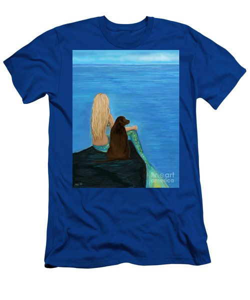Men's T-Shirt (Athletic Fit) featuring the painting Loving Lab Loyalty by Leslie Allen