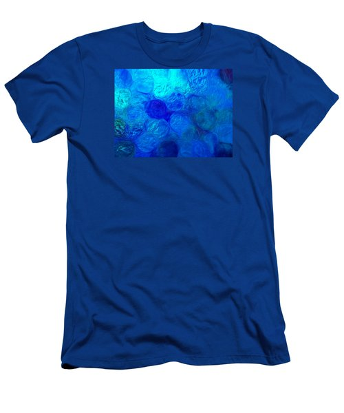 Magnified Blue Water Drops-abstract Men's T-Shirt (Athletic Fit)
