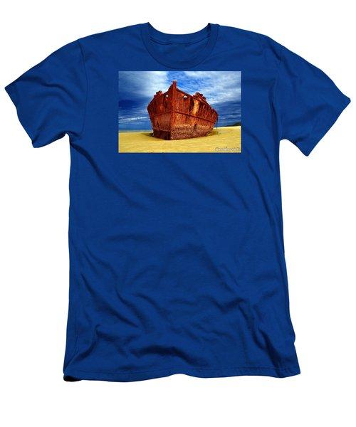 Men's T-Shirt (Slim Fit) featuring the photograph Maheno Shipwreck Fraser Island Queensland Australia by Gary Crockett
