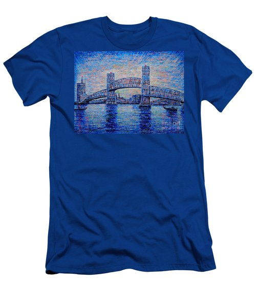 Men's T-Shirt (Slim Fit) featuring the painting Main St.bridge,#2 by Viktor Lazarev