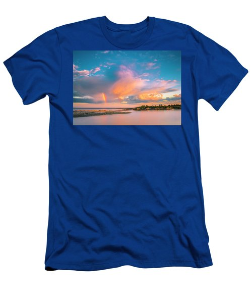 Maine Sunset - Rainbow Over Lands End Coast Men's T-Shirt (Athletic Fit)