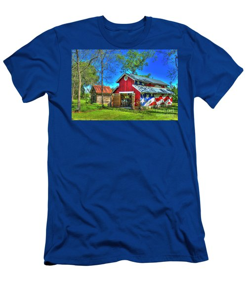Men's T-Shirt (Slim Fit) featuring the photograph Make America Great Again Barn American Flag Art by Reid Callaway