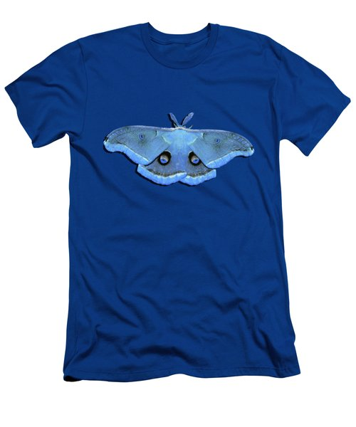 Men's T-Shirt (Slim Fit) featuring the photograph Male Moth Light Blue .png by Al Powell Photography USA