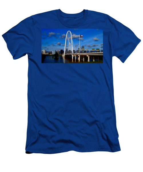 Men's T-Shirt (Slim Fit) featuring the photograph Margaret Hunt Hill Bridge Dallas Flood by Kathy Churchman
