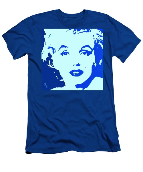 Men's T-Shirt (Athletic Fit) featuring the painting Marilyn Monroe Blue Pop Art Portrait by Bob Baker