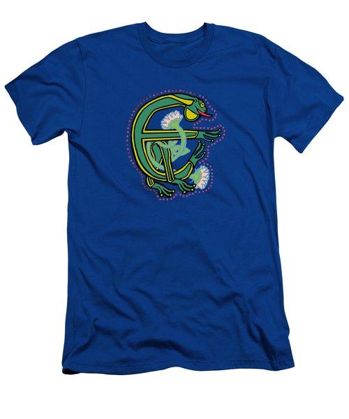 Medieval Frog Letter E Men's T-Shirt (Athletic Fit)