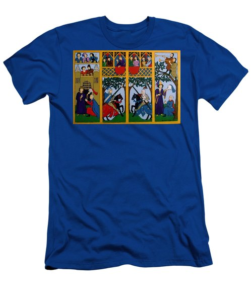 Men's T-Shirt (Slim Fit) featuring the painting Medieval Scene by Stephanie Moore