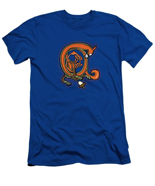 Medieval Squirrel Blue A Men's T-Shirt (Athletic Fit)