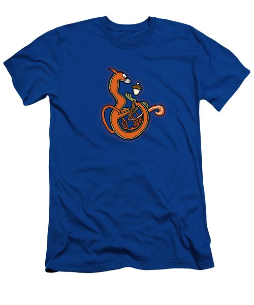 Medieval Squirrel Blue Letter B Men's T-Shirt (Athletic Fit)