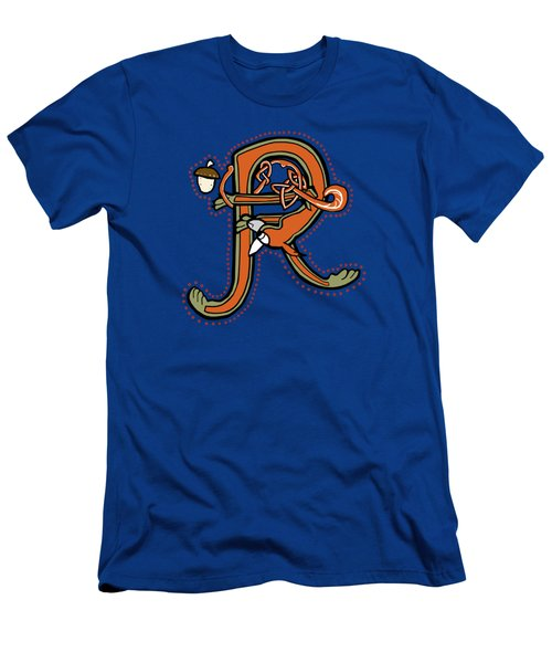 Men's T-Shirt (Slim Fit) featuring the digital art Medieval Squirrel Letter R by Donna Huntriss