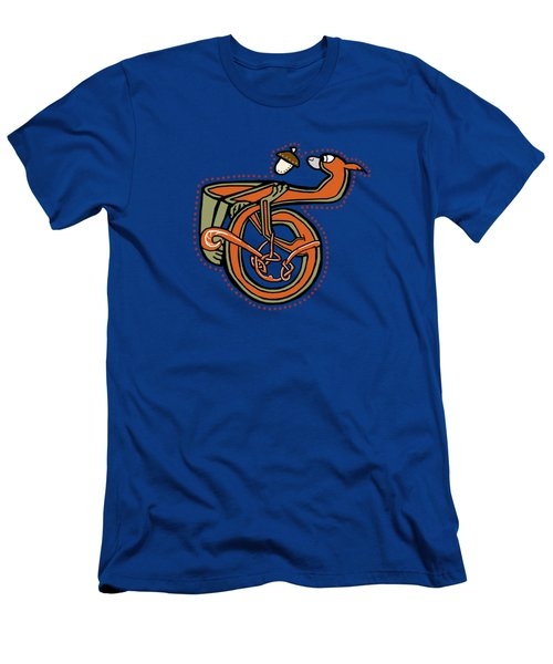 Men's T-Shirt (Slim Fit) featuring the digital art Medieval Squirrel Letter T by Donna Huntriss