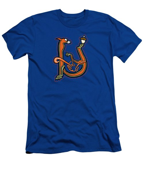 Medieval Squirrel Letter U Men's T-Shirt (Athletic Fit)