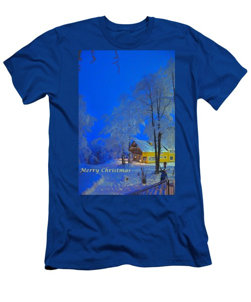Merry Christmas Cabin Digital Art Men's T-Shirt (Athletic Fit)