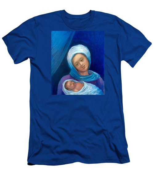 Men's T-Shirt (Slim Fit) featuring the painting Merry Christmas by Laila Awad Jamaleldin