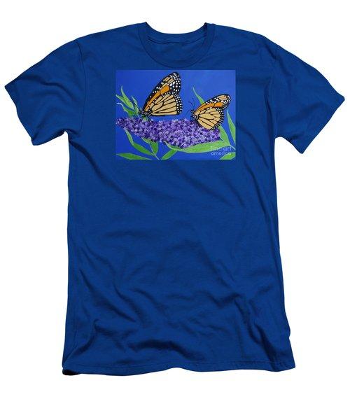 Monarch Butterflies On Buddleia Flower Men's T-Shirt (Athletic Fit)