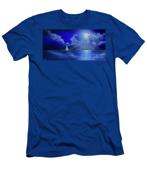 Men's T-Shirt (Athletic Fit) featuring the painting Moon Light Sail by Mary Scott