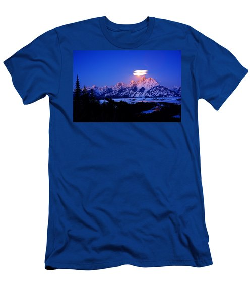 Moon Sets At The Snake River Overlook In The Tetons Men's T-Shirt (Slim Fit) by Raymond Salani III