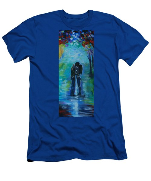 Men's T-Shirt (Slim Fit) featuring the painting Moonlight Kiss Series 1 by Leslie Allen