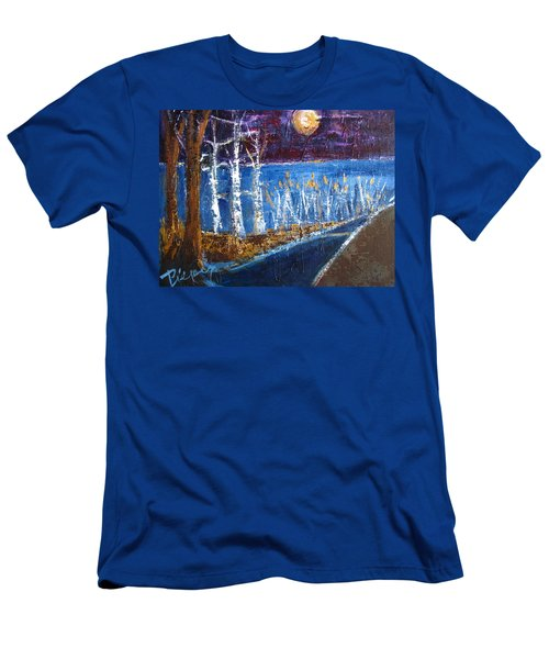 Moonlight On Path To Beach Men's T-Shirt (Slim Fit) by Betty Pieper