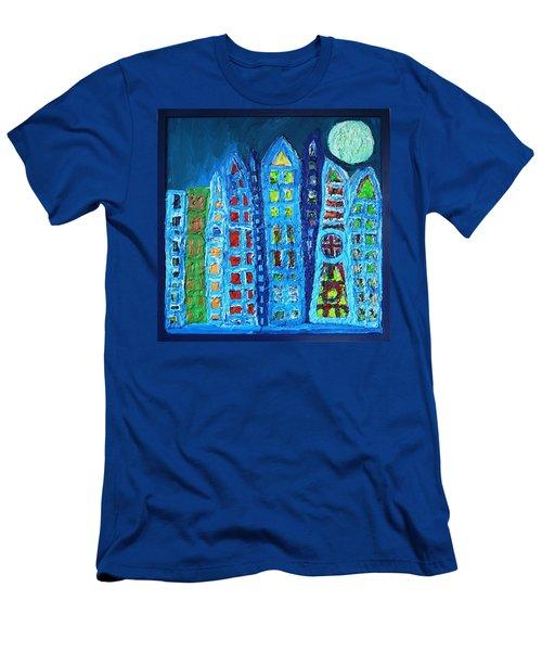 Moonlit Metropolis Men's T-Shirt (Slim Fit) by Darrell Black
