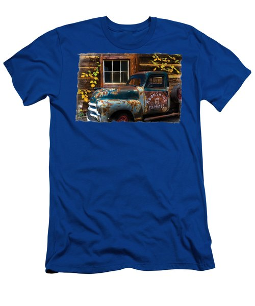 Moonshine Express Bordered Men's T-Shirt (Slim Fit) by Debra and Dave Vanderlaan