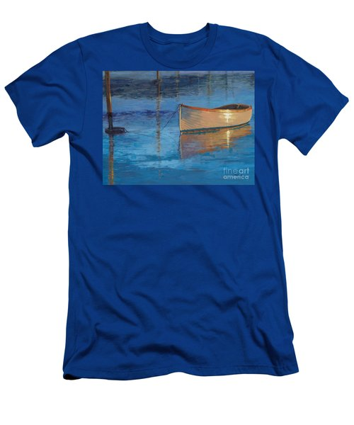 Men's T-Shirt (Slim Fit) featuring the painting Moored In Light-sold by Nancy Parsons