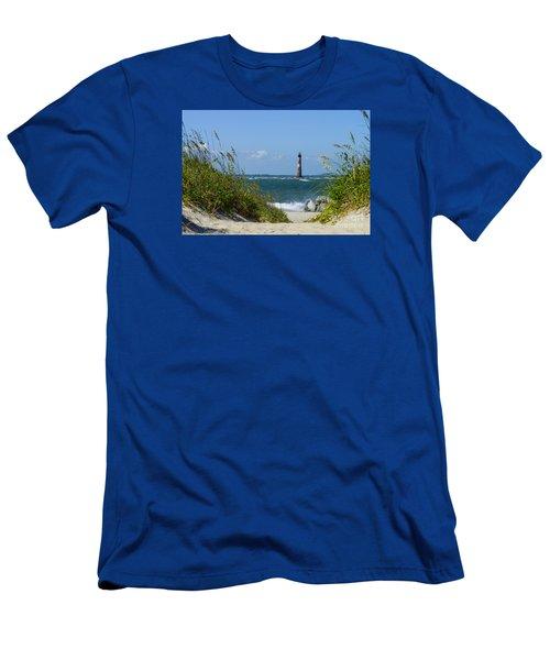 Morris Island Lighthouse Walkway Men's T-Shirt (Slim Fit) by Jennifer White