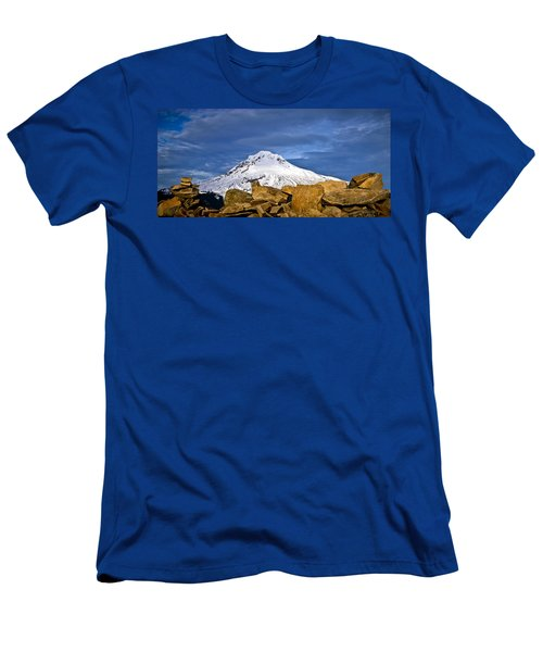 Mt Hood With Talus Men's T-Shirt (Athletic Fit)