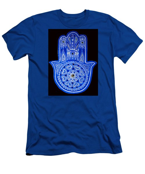 My Blue Hamsa Men's T-Shirt (Slim Fit) by Patricia Arroyo