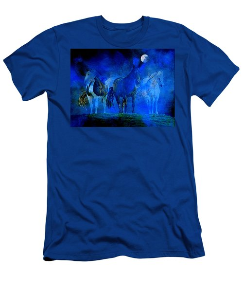 Men's T-Shirt (Athletic Fit) featuring the painting My Whole World Turns Misty Blue by Hanne Lore Koehler