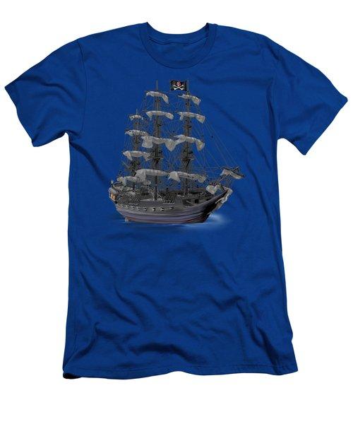 Mystical Moonlit Pirate Ship Men's T-Shirt (Slim Fit) by Glenn Holbrook