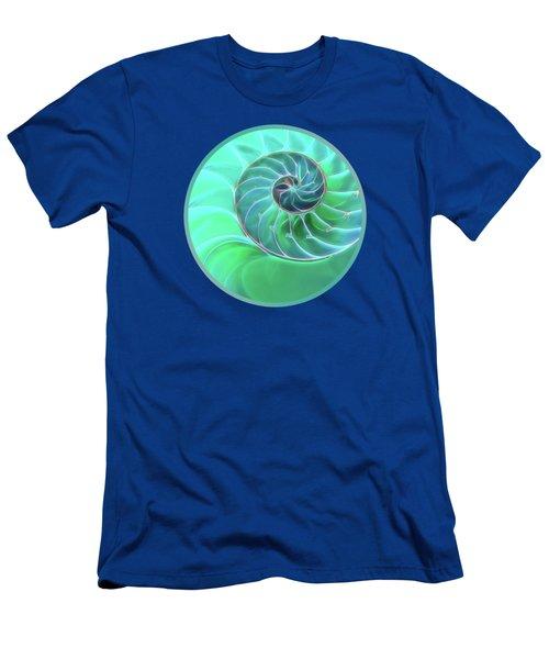 Nautilus Aqua Spiral Men's T-Shirt (Slim Fit) by Gill Billington